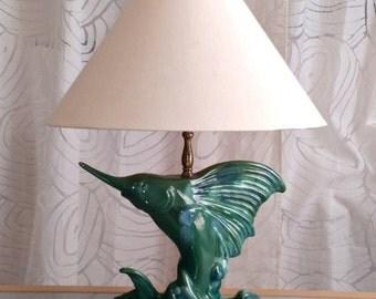 Unique SAILFISH Table Lamp, Ceramic, 1950's Vintage, Shades of Green, Fish Lamp