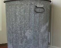 Vintage Zinc Galvanized Metal Garbage Bin // Storage Can // Drop Handles // Dog Food Storage