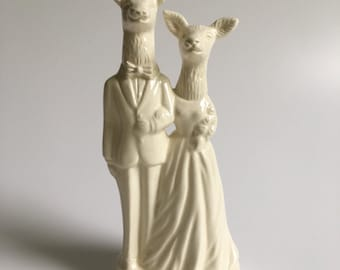 Deer Couple Handmade Wedding Cake Topper