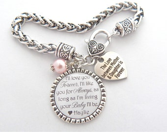 "Gift for Mom, Gift from Bride, Mother Daughter jewelry,  I""ll love you forever like you for always, Love between Mother and daughter"