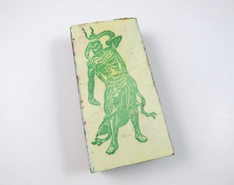 Scary Man Rubber Stamp Wood Back Used Vintage Hand Stamp, Asian Mongul Oriental