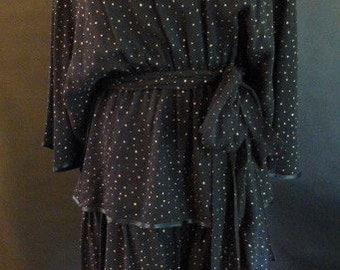 Vintage Anna Di Rossi, Milano Black & Silver Silk Chiffon Dress
