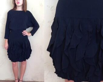 black batwing dress w/ tiered ruffle skirt - winter LBD