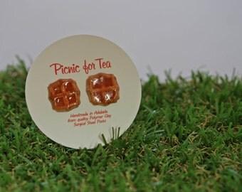 Waffles with Maple Syrup Stud Earrings - cute mini handmade dessert food jewellery