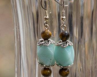 Amazonite and Tiger Eye Dangly Drop Pierced Earrings 3652e