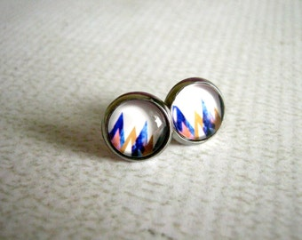 Glass Stud Earrings : Colorful Triangles Zig Zag