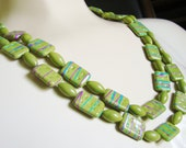 Vintage Olive Green Plastic Art Bead Necklace / Textured / Painted / Hong Kong / Jewelry / Jewellery