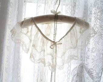 Boho Bohemian Gypsy Ivory French  Lace Sheer Cape Poncho Shawl,women's fashion clothing bolero shrug