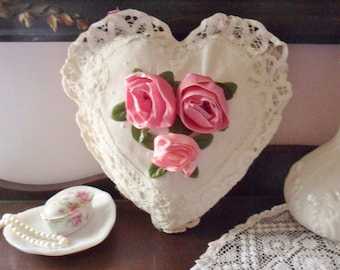 Battenberg Lace Heart Pillow with Pink Ribbon Roses, Hanging Throw Pillow with Tape Lace,