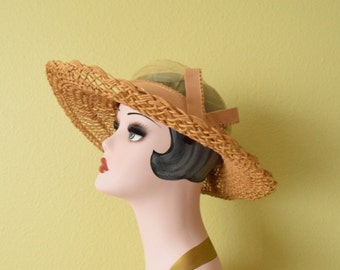 Vintage c. 1930's  Sheer Cloche Sun Hat | I. Magnin