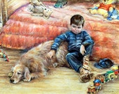 """Boy dog Children childhood Art Print best friend """"I Can Tell You Anything"""" Laurie Shanholtzer Canvas or Cotton art paper print,"""