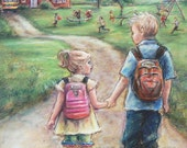 Brother and sister  Canvas or Cotton art paper print, school boy and girl painting children wall decor Laurie Shanholtzer artist