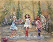 "Dancing, rain, wall art, three girls ""Come Dance With Me My Friends!"" Laurie Shanholtzer Original pastel painting"