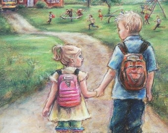 "Brother and sister  Canvas or art paper print, school boy and girl ""Take My Hand Little Sis"" Laurie Shanholtzer artist"