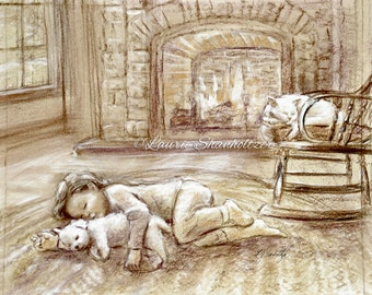 Art for kids, MONOTONE cat, dog, canvas prints or paper, fireplace winter 'Warm and Cozy by the Fire' child wall art, Laurie Shanholtzer