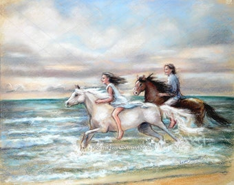 "Horses, Beach, wind and sea, couple, original pastel painting, "" Chasing the Wind"" Laurie Shanholtzer 16x20"