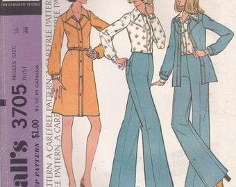 70s Dress, Blouse & Pants Pattern McCalls 3705 Size 16 Uncut