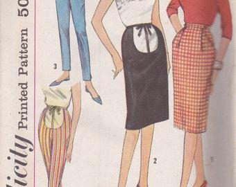 1960s Maternity Skirt & Pants Pattern Simplicity 4005 Waist 28