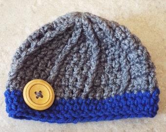 Crochet Newborn Hat, Knit newborn hat, Newborn Beanie, Infant Beanie, Infant Hat, Photo prop, button, royal blue, gray