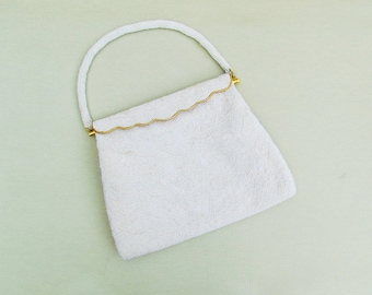 Vintage off white beaded purse, c.1960's beaded wedding purse, hand beaded purse made in Hong Kong
