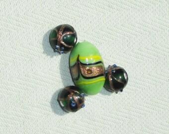 Glittery Green Lampwork Glass Bead Lot - 4 pcs - Jewelry Making Supplies