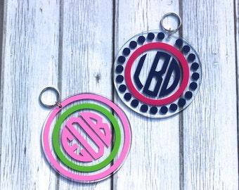 Personalized Circle Monogram Acrylic Key Chain