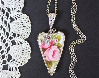 Necklace, Broken China Jewelry, Broken China Necklace, Heart Pendant, Pink Roses, Sterling Silver, Soldered Jewelry