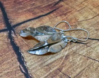Leaf Earrings, Sterling Silver Nature Jewelry