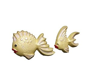Vintage Chalkware Fish - Vintage Fish Bathroom Decor, Wall Hanging, Mid Century Modern Wall Plaques, Retro Tropical Fish Decor, Gold Fish