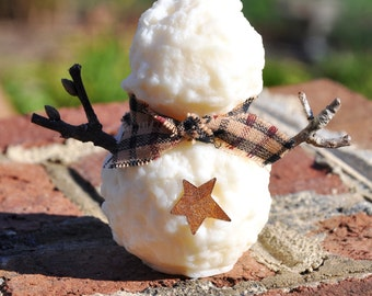 Rustic snowman candle, American soy wax