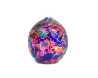 Vintage Blown Glass Bud Vase Round Globe Paperweight Mosaic Glass Multi Color Gazing Ball Art Glass Orb