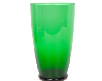 Vintage Emerald Green Glass Vase Wide Mouth Tumbler Art Glass Flared Rim Large Beer Glass Tall Barware