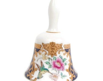 Vintage TOZAN Bell Made in Japan Hand Painted Porcelain Floral Design Gold and Cobalt Pink Roses