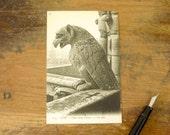 Circa 1909 Vintage French Postcard Gargoyle at Notre Dame Cathedral Paris, France Notre-Dame Chimère Post Card #1193
