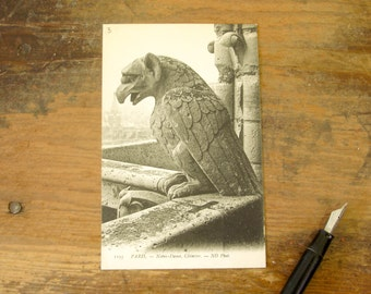 Circa 1909 Vintage French Postcard Gargoyle at Notre Dame Cathedral Paris, France Notre-Dame Chimère Post Card #1193