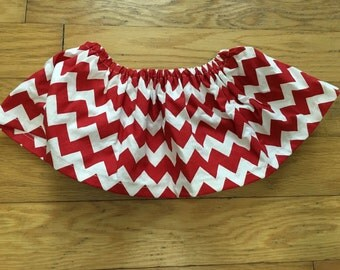 Red and White Chevron Skirt-Ready to Ship