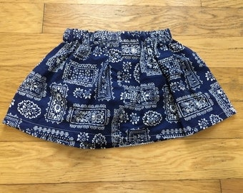 CLEARANCE:Deep Blue Paisley/Bandana Print Skirt-Ready to ship