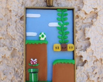 Classic Super Mario World Inspired Pendant, Polymer Clay