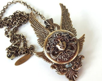 Gothic Pendant Medusa Necklace Brass Angel Wings Necklace Fantasy Jewelry Gothic Jewelry