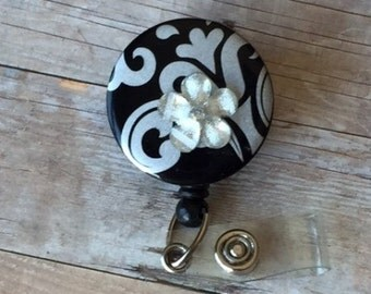 Retractable Badge Reel, ID Holder, Badge Clip, Lanyard,  Black/Silver Abstract Design Badge Reel