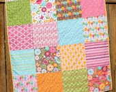 Summer Song Baby Quilt, Baby Girl Quilt, Pink, Yellow, Brown, Floral Baby Quilt, Pink Quilt, Handmade Blanket, Crib Quilt, Nursery Bedding