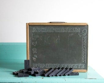 Vintage children's chalkboard and domino set, antique chalkboard ABCs and numbers with Empire State Dominoes, vintage domino set