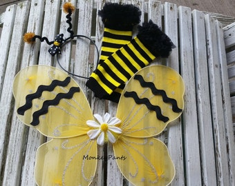 Bumble Bee Wings - Halloween Costume Wings -  Antenna Headband - Bumble Bee Leg Warmers - Bumble  Bee Costume
