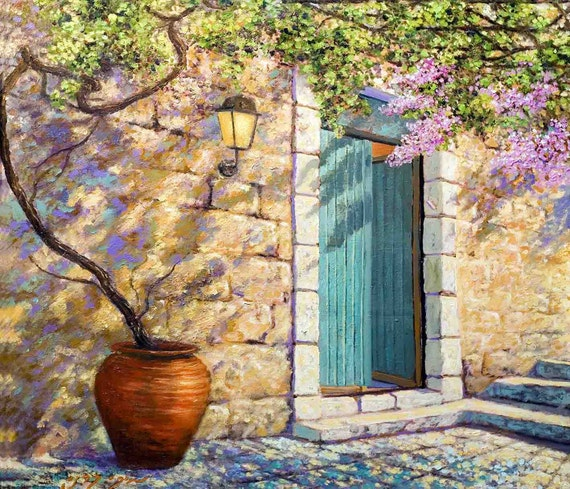 Under his vine and under his fig tree. Museum Quality Art Prints + Oil Painting by Miki Karni Size: 60 x 70 cm