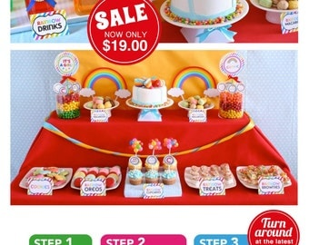 Rainbow Baby Shower Package Personalized FULL Collection Set - PRINTABLE DIY - BS808CA1x