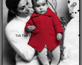 No.362 Baby / Toddler Double Breasted Crocheted Coat - PDF Vintage Crochet Pattern For Boy Or Girl - Size 18 months, 2, 4 Years
