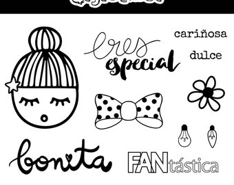 """Pack of clear stamps set - spanish - high quality - """"BONITA"""""""