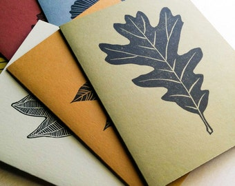 Gardening gift, Blank note card set (6 cards & envs), autumn cards, linocut prints, block prints, fall leaf art, alternative christmas cards