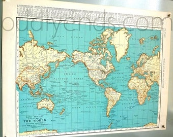 1939 The World Vintage Atlas Map