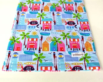 Sunsational Blanket || Beach Baby Blanket || Tropical Paradise Blanket || Beach House Baby Blanket with Turquoise Minky